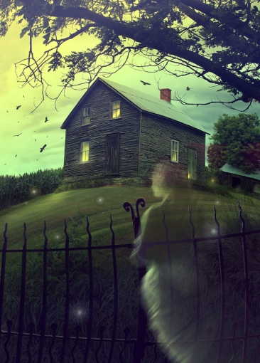 Eerie looking hut on hillside at night, ghostly image in front by wrought iron fence