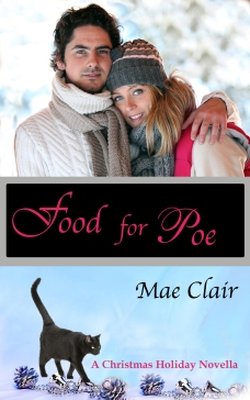 Book cover of Food for Poe by Mae Clair shows attractive young couple, a black cat and Christmas ornaments