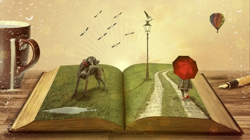 Open book with 3D objects on page...dog, woman with umbrella, walking down lane with grass on either side