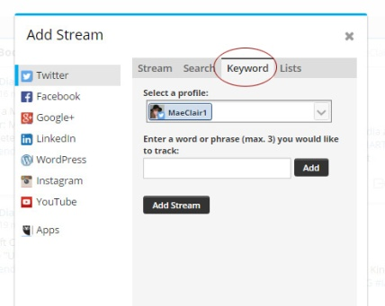 screenshot of add keyword pop-up box in Hootsuite