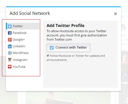 screen shot of social network add box within Hootsuite