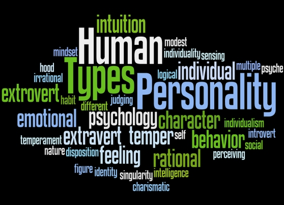 Human Personality Types word cloud concept on black background.