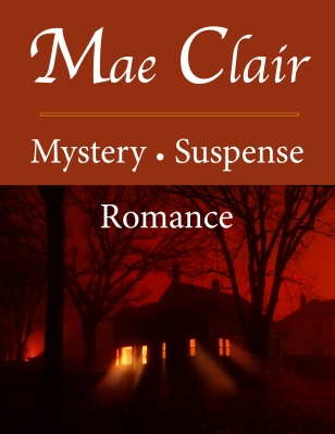 Sign with spooky house at night advertising mystery author Mae Clair