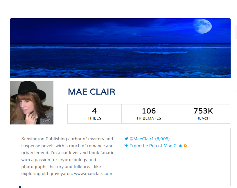 Mae Clair Profile on Triberr with background image of ocean at night