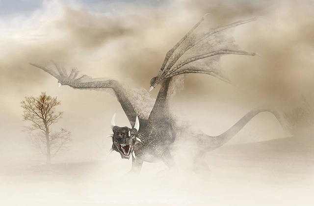 Dragon with raised wings in the mist