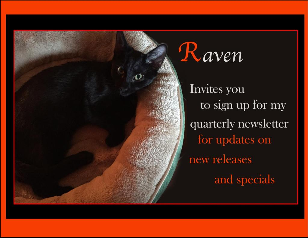 Black cat in a pet bed with an invitation to sign up for author, Mae Clair's, newsletter