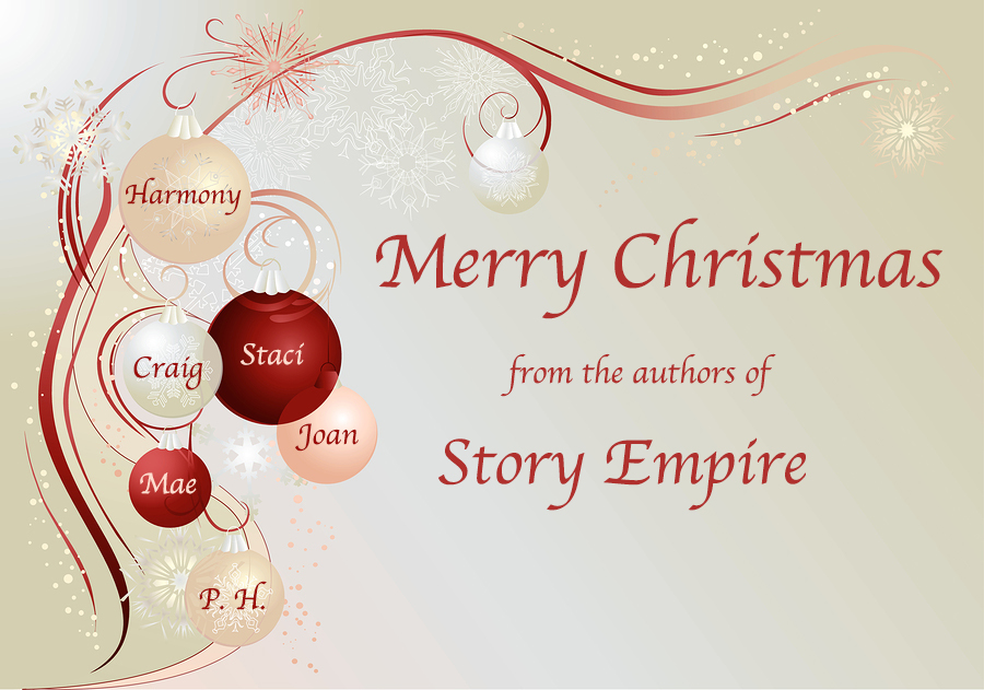 Silver christmas background with baubles and snowflakes. Merry Christmas wishes from the authors of Story Empire