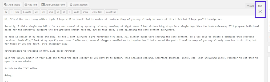 screenshot of the WordPress text editor
