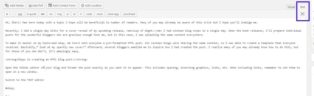 screenshot of the WordPress text editor