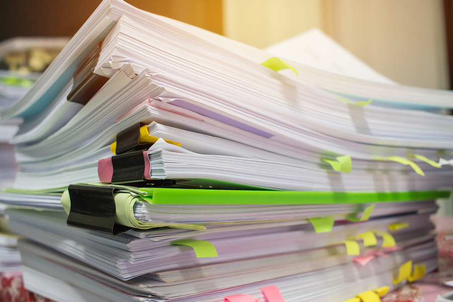 Stacks of paper piled high