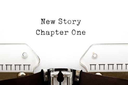New Story Chapter One printed on a vintage typewriter.