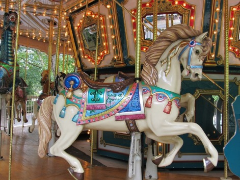 white carnival horse on a lighted merry-go-round