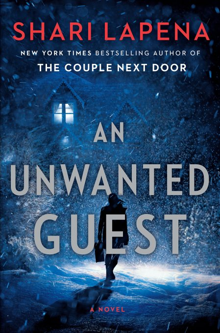 book cover for An Unwanted Guest shows dark figure approaching isolated house in a snowstorm