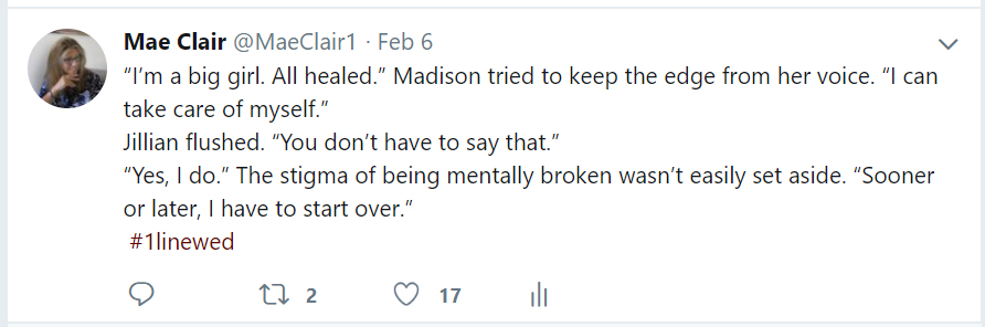 Screenshot of a Tweet made by author Mae Clair as an example of #1LineWed