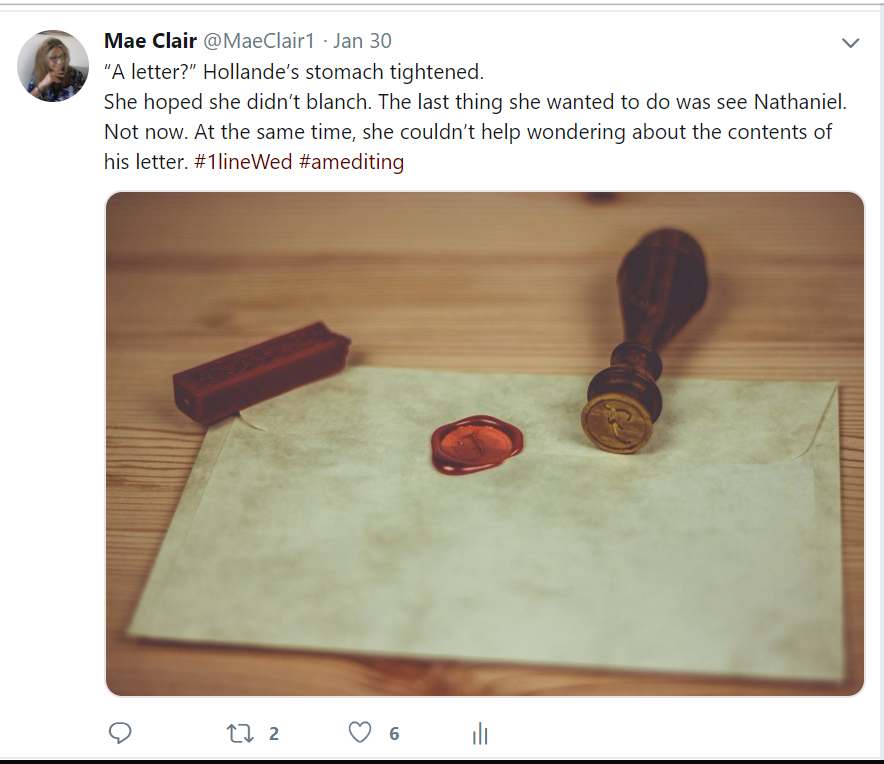 Screenshot of a Tweet made by author Mae Clair for #1LineWed with a photo of old letter with wax seal