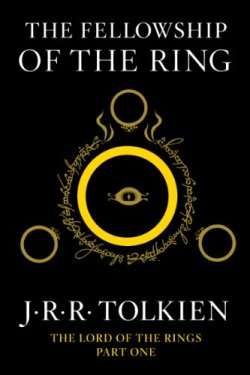 Book cover for The Fellowship of the Ring by J.R.R. Tolkien shows gold ring surrounded by elvish writing, with eye in middle of ring