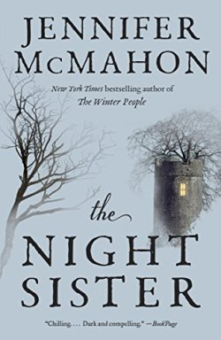 Book cover for The Night Sister by Jennifer McMahon shows tone tower with a single window, light within, leafless tree behind