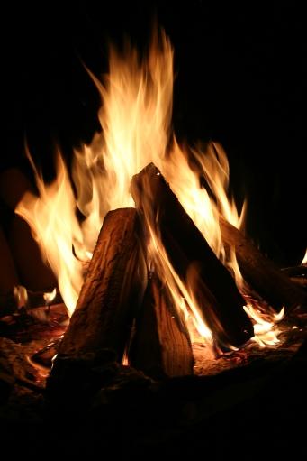 Blazing pyre on dark background