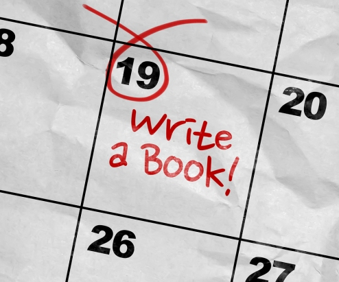 Concept image of a Calendar with the text: Write a Book in red ink