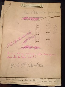 Title page of an old typewritten manuscript, marked up with pencil and a colored marker