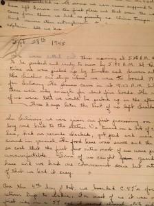handwritten journal entry on lined tablet paper for September 1945
