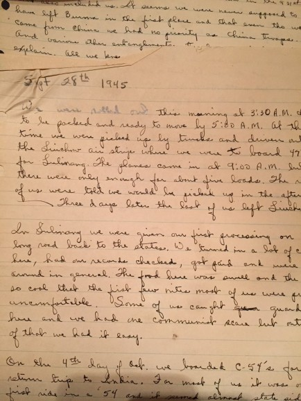 handwritten journal entry on lined tablet paper for September 1945