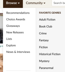 Screenshot from Goodreads showing navigation drop down for lists