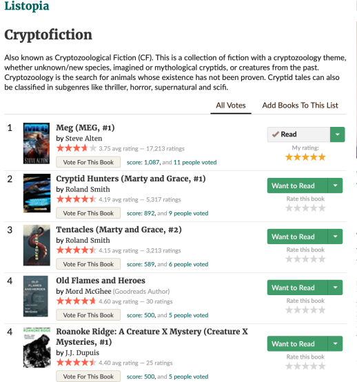 Book cover thumbnails on Goodreads Listopia Cryptofiction list shows star ratings and vote buttons