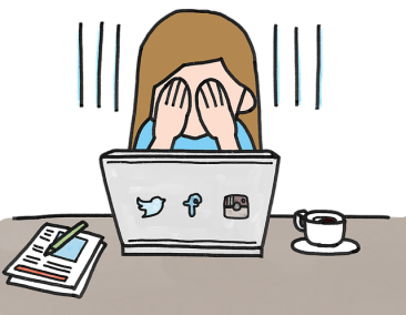 cartoon illustration of girl sitting at a open laptop, face covered with hands, social media icons on back of laptop