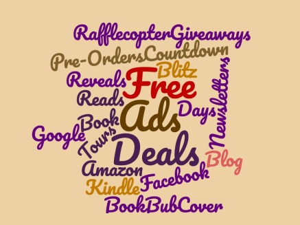 Word cloud with text related to book marketing
