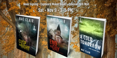 Banner Ad for book signing for author Mae Clair shows three books over an autumn background