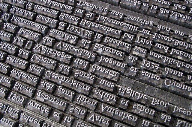 Words, type setting