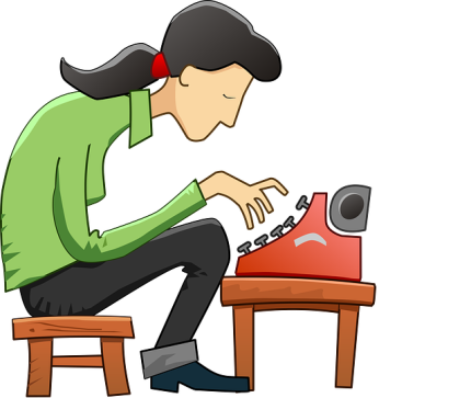 Illustration of girl with pony tail hunched over manual typewriter