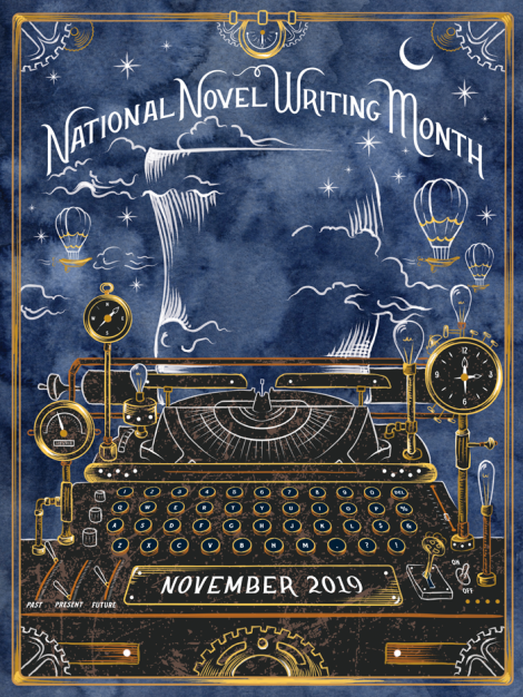 NaNoWriMo theme poster from 2019 shows old fashioned brass typewriter with blue background and sketches of hot air balloons