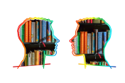 Two heads facing each other with books inset in each