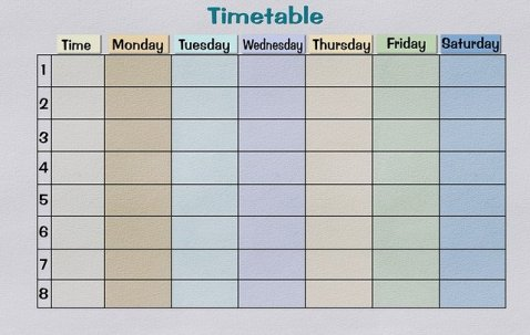 color coded spreadsheet showings days of the week