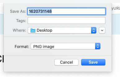 Download Dialogue Box for saving your image